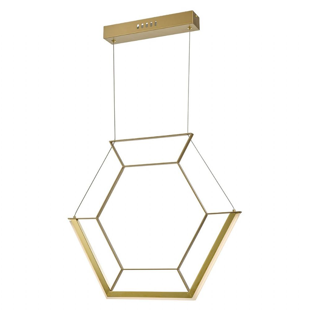 Hexagon 1lt Pendant Gold LED, Double Insulated BXHEX0135-17